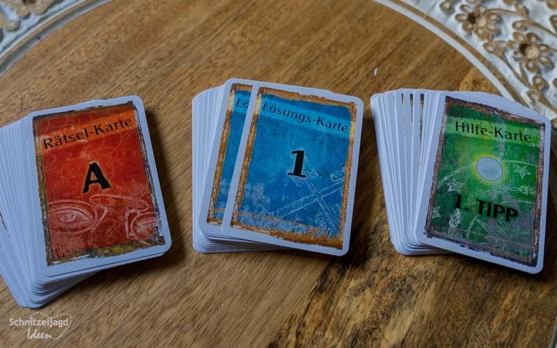 Rätselkarten, Hinweiskarten, Lösungskarten der EXIT-Spiele von Kosmos