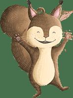Eichhörnchen lädt zur Wald-Schatzsuche am Kindergeburtstag ein