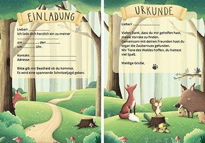 Einladungskarten für einen Waldgeburtstag mit Schnitzeljagd