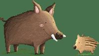 Wildschweine aus der Wald-Schnitzeljagd am Waldgeburtstag