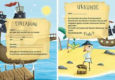 Einladungskarten für Piraten Party am Kindergeburtstag mit Schatzsuche