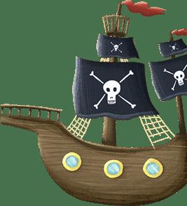 Piratenschiff aus der Piraten-Schnitzeljagd am Kindergeburtstag