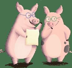 Kluge Schweine haben Rätselfragen für Kinder in der Bauernhof-Schatzsuche