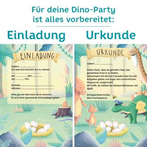 Einladungskarten für eine Dino-Party mit Schnitzeljagd