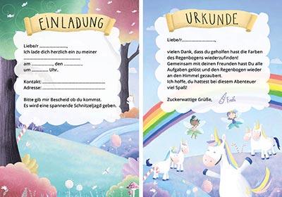Einladungen für einen Kindergeburtstag mit Einhorn-Schatzsuche
