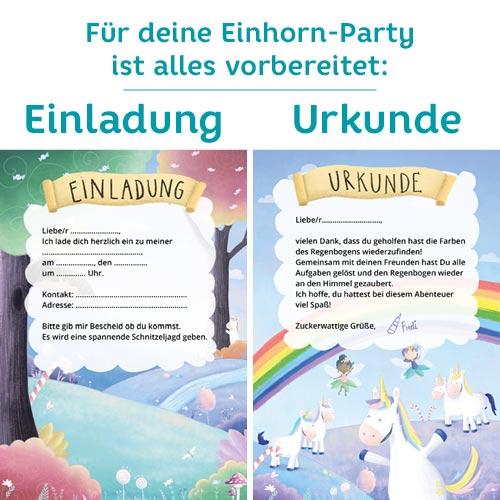 Einladungskarten für eine Einhorn-Party mit Schatzsuche