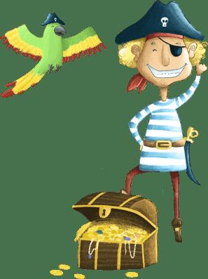 Pirat Fiete mit Schatz aus der Piraten-Schnitzeljagd am Kindergeburtstag