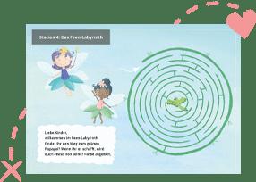 Einhorn-Schnitzeljagd mit Rätseln für Kinder