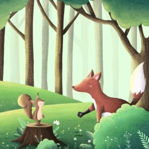 Eichhörnchen Lilo und der schüchterne Fuchs aus der Wald-Schnitzeljagd