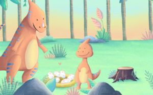 Dinosaurier-Spiel am Kindergeburtstag mit Dino-Motto