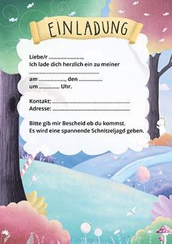 Einhorn Party: Einladungskarte für den Kindergeburtstag