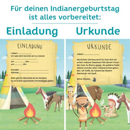 Einladungskarten für einen Indianer-Geburtstag mit Schnitzeljagd