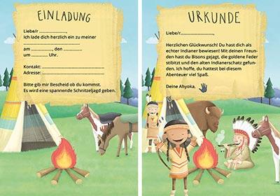Einladungen für einen Indianergeburtstag mit Schnitzeljagd