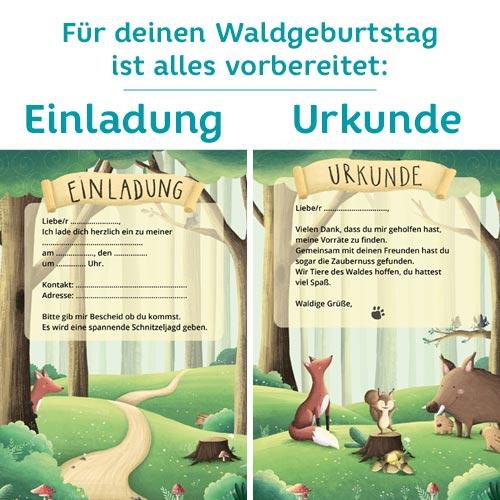 Waldgeburtstag: Einladungen für einen Kindergeburtstag im Wald