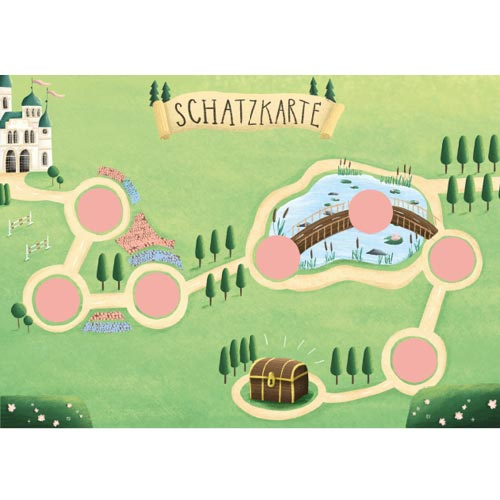 Prinzessin Schnitzeljagd: Schatzkarte mit Schloss
