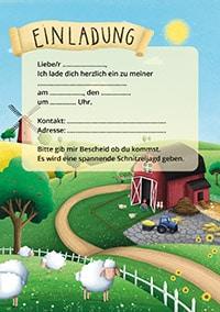 Einladung für Bauernhof-Geburtstag