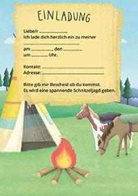 Einladung für einen Indianer-Geburtstag