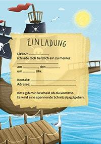 Einladung für Piraten Geburtstag mit Schatzsuche