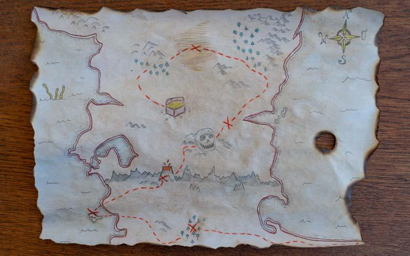 Fertige DIY Schatzkarte (alt) für eine Piraten-Schatzsuche