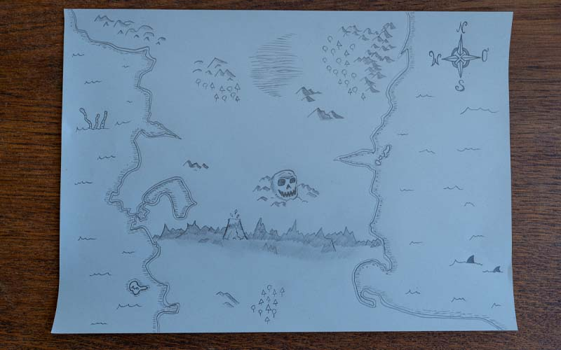 Kompass, Seeungeheuer, Haie für die DIY Schatzkarte