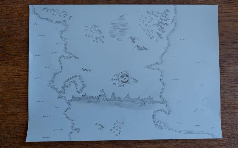 Wälder, Totenkopf und Küstenlinien mit Wellen in die Schatzkarte malen