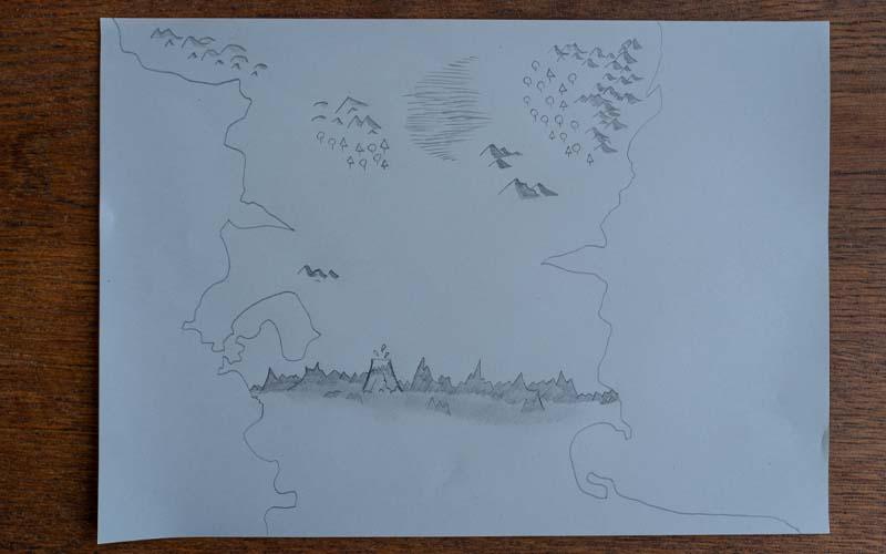 Sümpfe und Vulkane in die Schatzkarte zeichnen